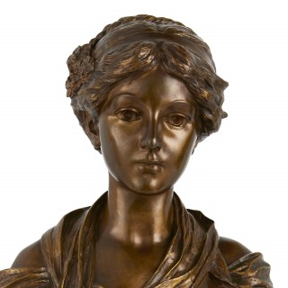 Patinated bronze antique bust of a young lady, after Greuze