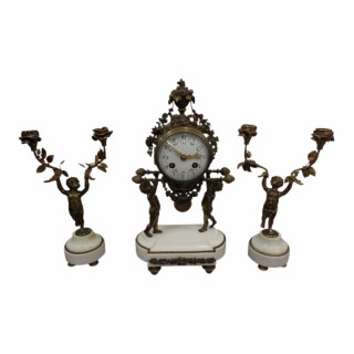 French Gilt and White Marble Clock Set