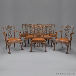 Set of 8 Mahogany Chippendale Style Dining Chairs