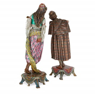 Pair of cold painted bronze Orientalist figures of musicians