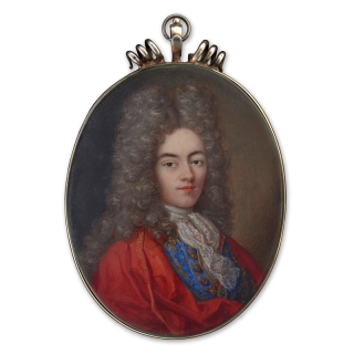 Portrait miniature of an unknown Gentleman, wearing scarlet cloak with gold border over bright blue waistcoat embroidered with gold thread, lace cravat, powdered wig, c.1700