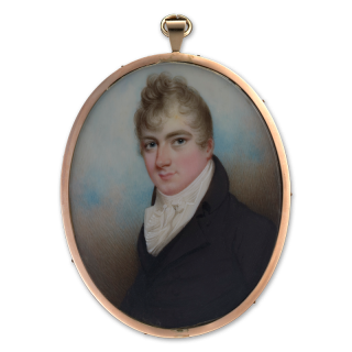 Portrait miniature of a Gentleman, traditionally called Sir Francis Lord, wearing black coat and white frilled shirt, c.1795