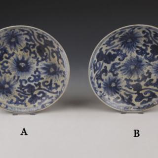 Chinese Kangxi blue and white dish with chrysanthemum decoration