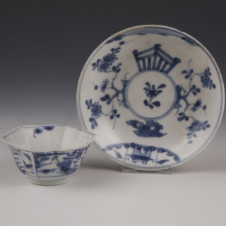 Chinese Kangxi blue and white hexagonal tea bowl with saucer