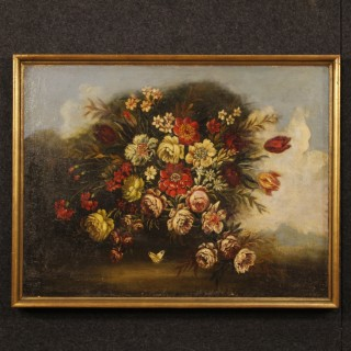 20th Century Italian Painting Still Life With Flowers Oil On Canvas