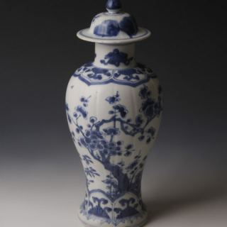 Large Blue and White Export Ware Meiping Vase