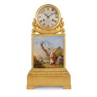 Ormolu and porcelain antique mantel clock by Raingo Frères