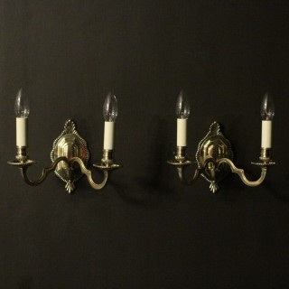 English Pair Of Brass Antique Wall Lights