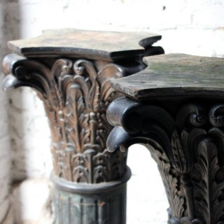 A Decorative Pair of Early 20thC Carved Pine & Faux Marble Painted Corinthian Column Pedestals c.1930-40