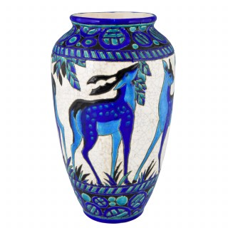 Art Deco ceramic vase with deer