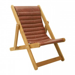 Modern Leather and Oak Deck Chair.