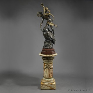 'Puck' - Cast Parcel-Gilt And Patinated Bronze Figural Group