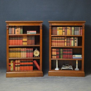 Pair of Late Victorian Walnut Bookcases