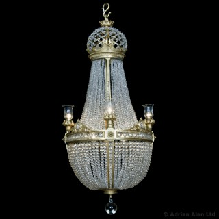 Gilt-Bronze and Cut-Crystal Tent and Basket Chandelier