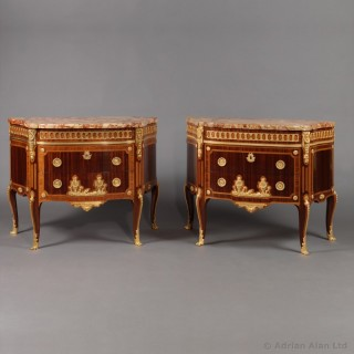 Pair of Transitional Style Commodes After the Model by Charles Topino