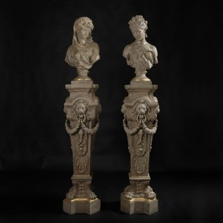 Pair of Busts and Pedestals Allegorical of Spring and Winter