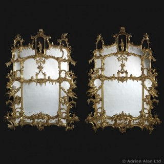 Exceptional Pair of Chippendale Director Style  Chinoiserie Pier Glasses