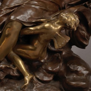 'Cupid & Psyche' - An Important Parcel-Gilt and Patinated Bronze Figure