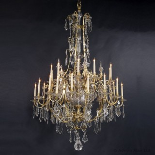Louis XV Style Gilt-Bronze and Cut-Crystal Thirty-Light Cage Chandelier