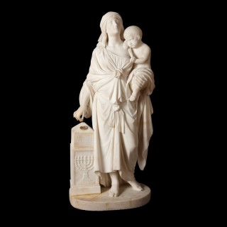 White Carrara marble scuplture of Hannah and Samuel by Andrei