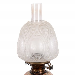 Victorian Pottery Oil Lamp