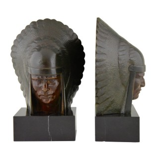 Art Deco bronze Indian head bookends