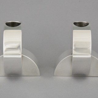 Art Deco Modernist Pair Of Silvered Candlesticks.