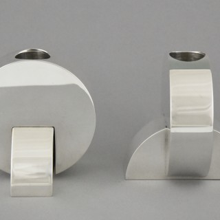 Art Deco Modernist Pair Of Silvered Candlesticks.