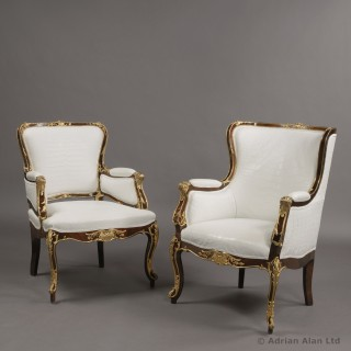 Companion Pair of Russian Gilt-Bronze Mounted Chairs
