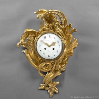 Louis XV Style Gilt-Bronze Rococo Cartel Clock