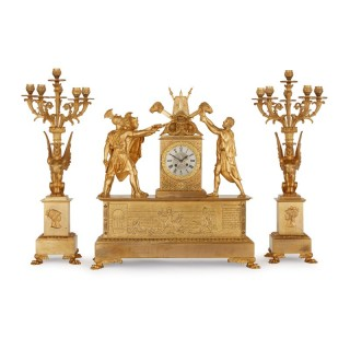 Empire period ormolu clock set depicting the Oath of the Horatii