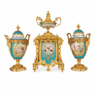 French antique ormolu and Sèvres porcelain clock set