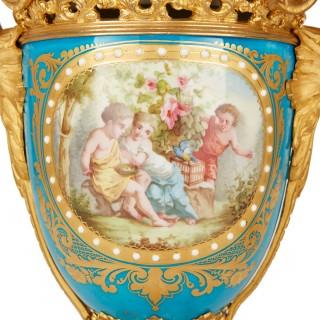 French antique ormolu and Sèvres porcelain clock set