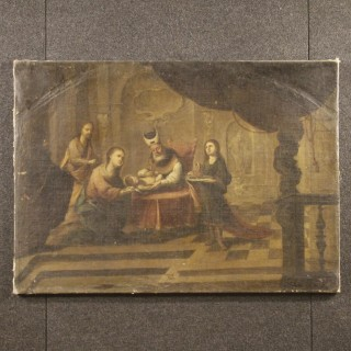 18th Century Spanish Religious Painting Circumcision Of Jesus Oil On Canvas