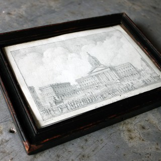 An Exquisite c.1830s Pencil Study of the Place Royale de Bruxelles by Rose-Joseph Lemercier (French, 1803–1887)