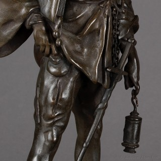 Pair of Patinated Bronze Figures of an Archer and a Scholar