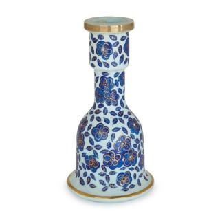Antique Bohemian floral decorated glass vase
