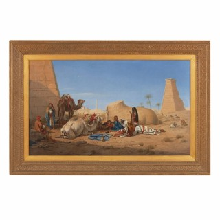 Bedouins and Camels Resting Amongst Ruins by William Luker