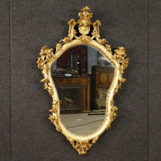 20th Century Italian Lacquered And Gilt Mirror