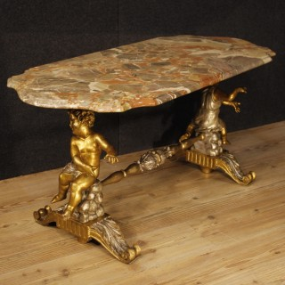 20th Century Italian Golden Coffee Table With Marble Top