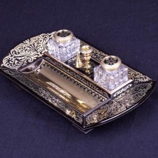 Regency period Ebony and Brass Inlaid Desk Piece