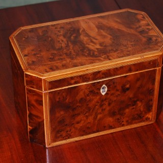 George III Period Burr Yewwood Tea Caddy of canted octagonal shape