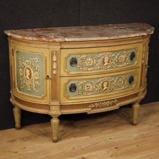 20th Century Italian Demi Lune Lacquered Dresser In Louis XVI Style