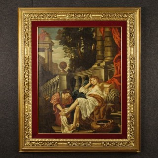 18th Century French Painting Oil On Canvas Nude With Architecture
