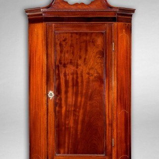 George III Period Mahogany and Inlaid Hanging Corner Cabinet