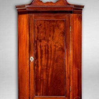 George III Period Mahogany and Inlaid Hanging Corner Cabinet