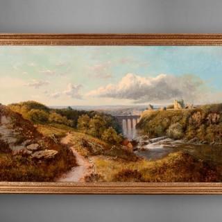 Knaresborough Castle by Edward H Niemann , Oil on Canvas landscape
