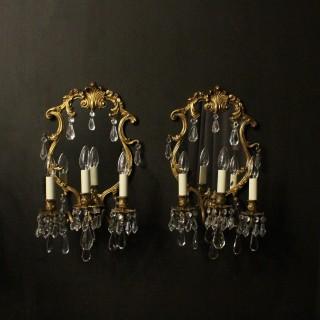 Italian Pair Of Bronze Antique Girandoles