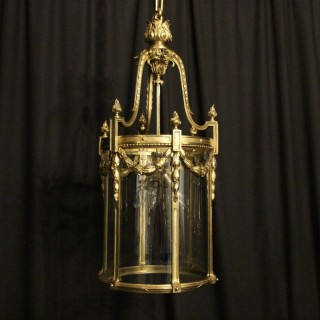 French Bronze Triple Light Antique Lantern