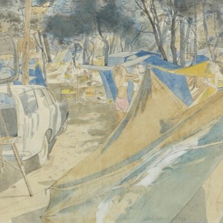 Camp Site by John Ward RA (1917-2007)